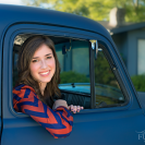 senior girl with vintage truck